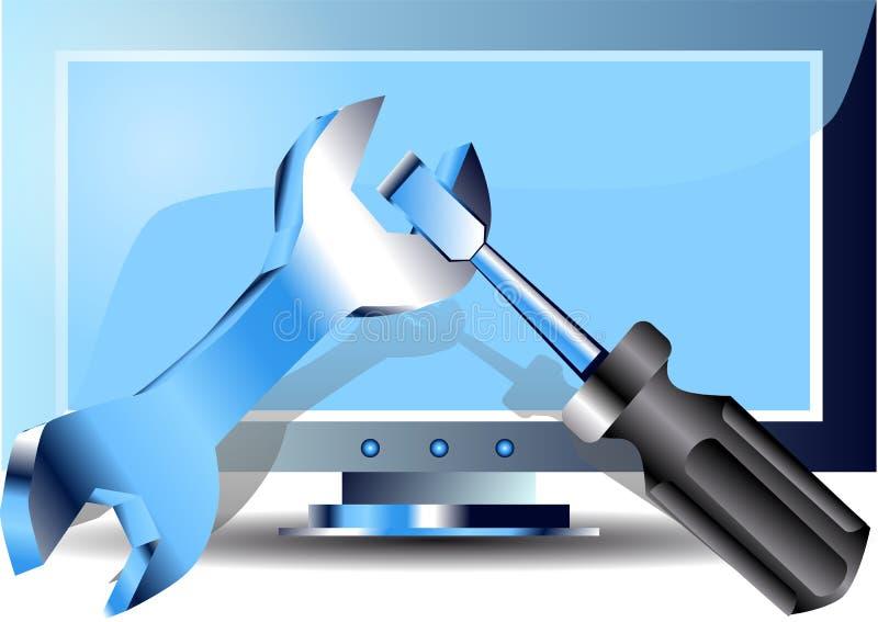 Reparación de los ordenadores stock de ilustración