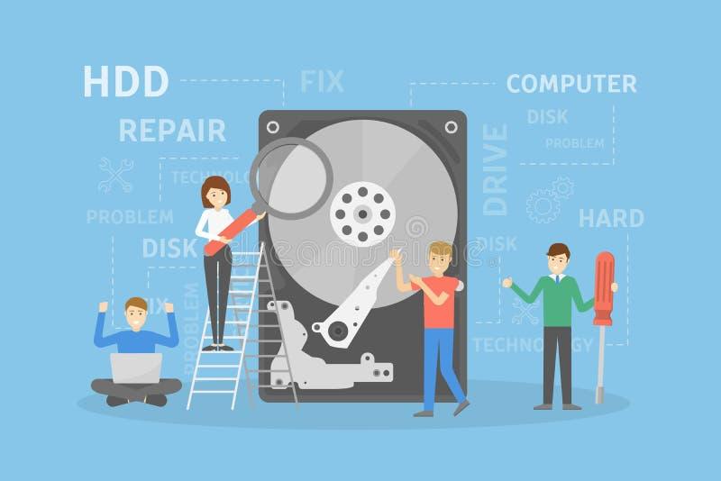 Reparación del disco duro stock de ilustración