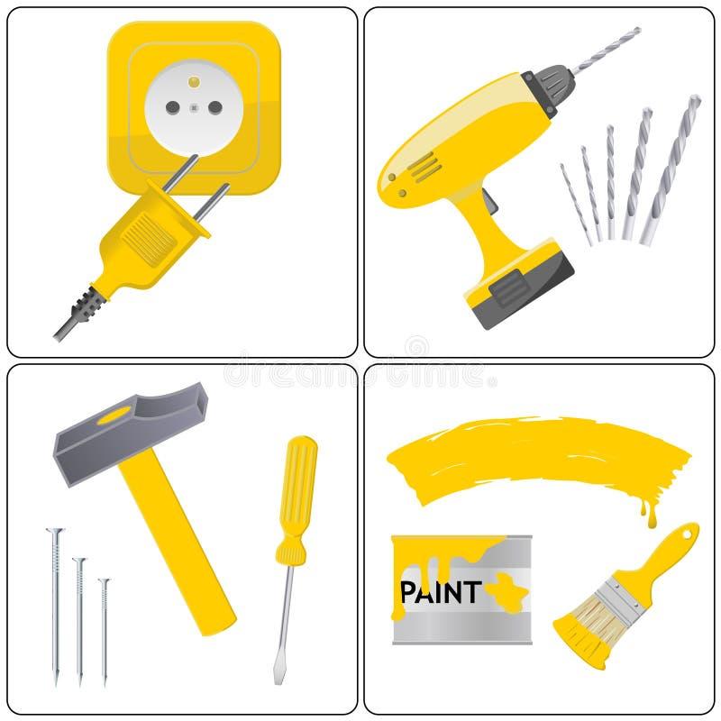 Reparación del hogar y trabajo de la herramienta stock de ilustración
