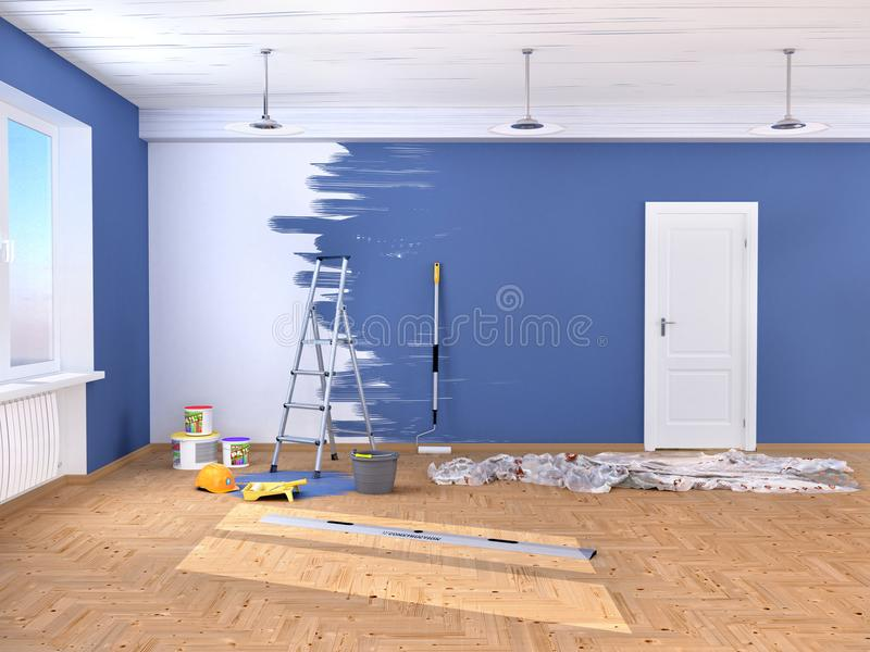 Reparación en el cuarto Pintura y enyesado de paredes illustr 3d ilustración del vector