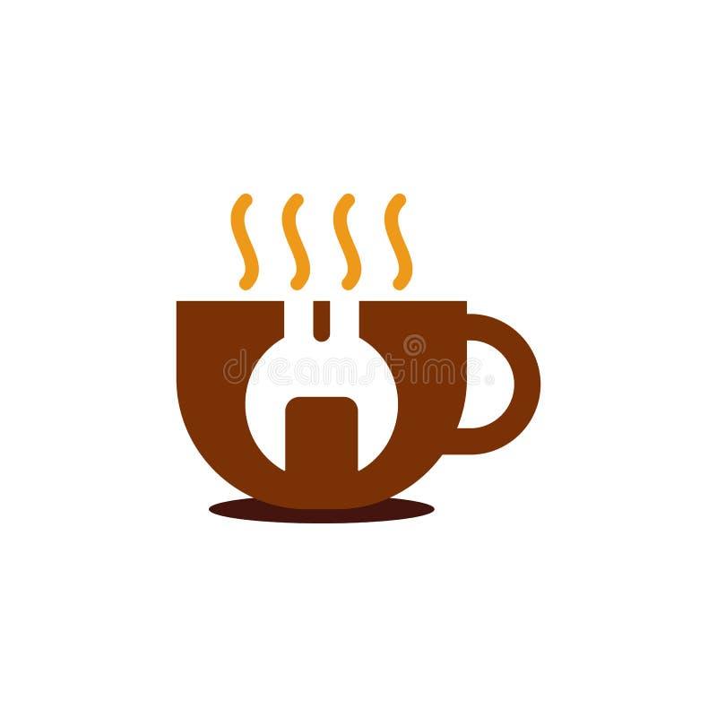 Reparación Logo Icon Design del café libre illustration