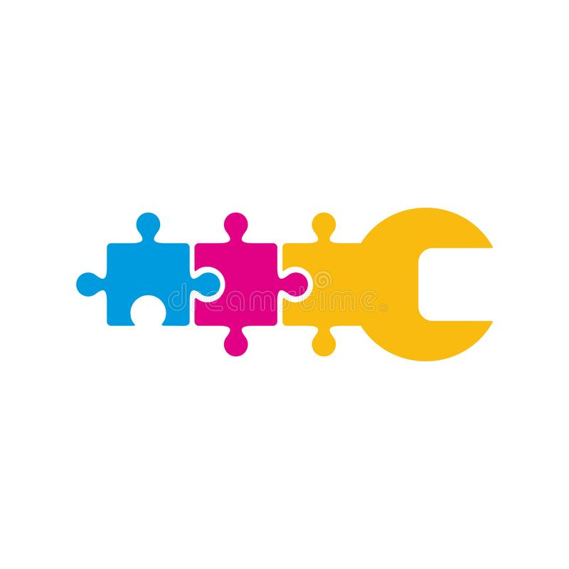 Reparación Logo Icon Design del rompecabezas ilustración del vector