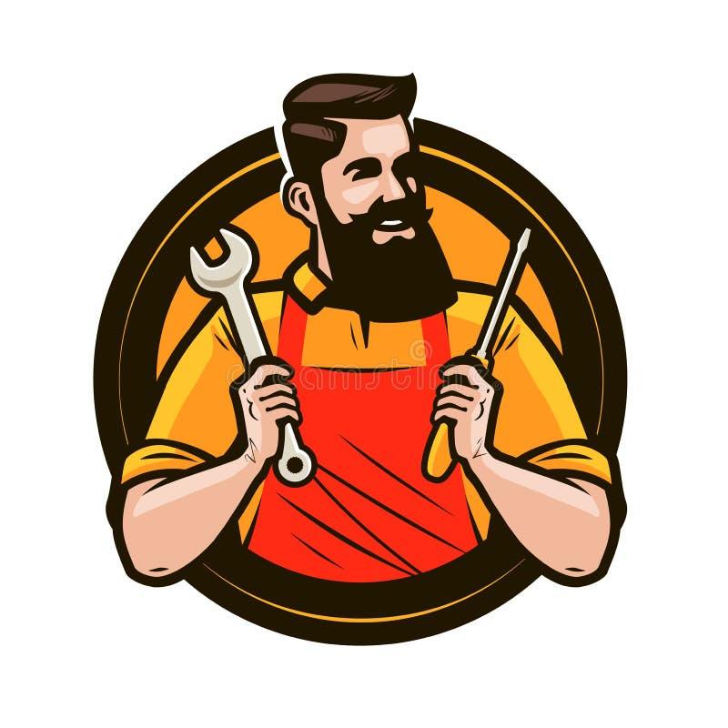 Reparación, logotipo del mantenimiento o etiqueta El reparador sostiene en herramientas de las manos una llave y un destornillado libre illustration