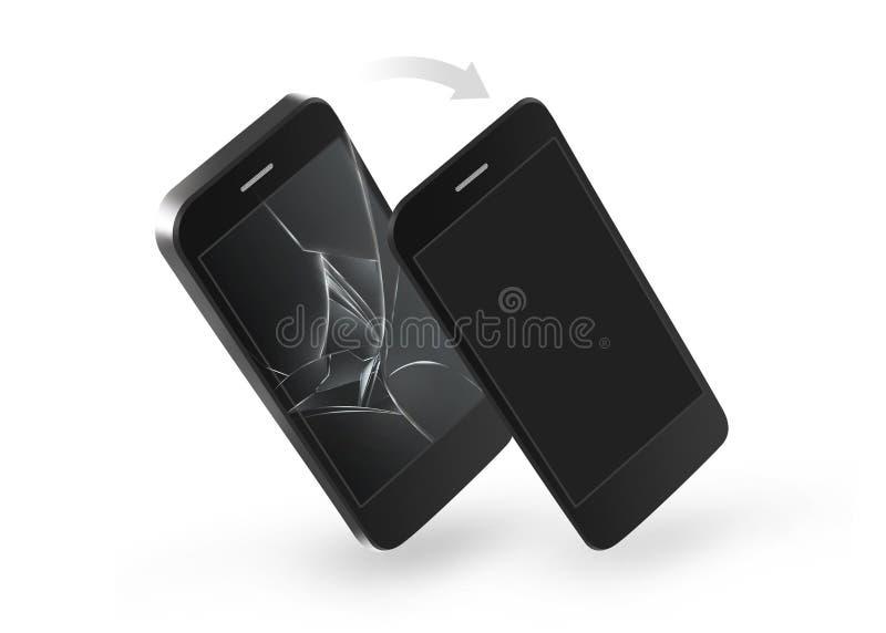 Reparación rota teléfono de la pantalla Cambio de la pantalla táctil de cristal estrellada stock de ilustración