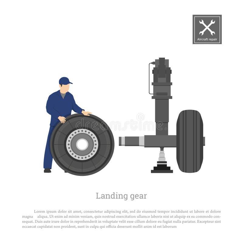 Reparación y mantenimiento de aviones Dirija la rueda del arreglo en el tren de aterrizaje del aeroplano Dibujo industrial en un  ilustración del vector