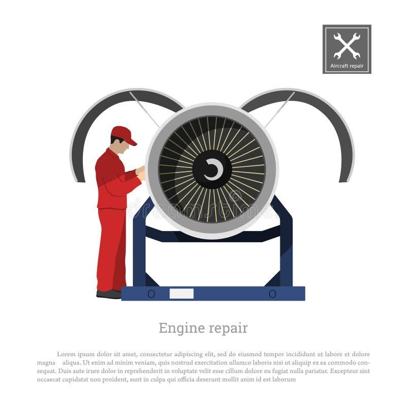 Reparación y mantenimiento de aviones El ingeniero examina el motor del aeroplano Dibujo industrial en un estilo plano stock de ilustración