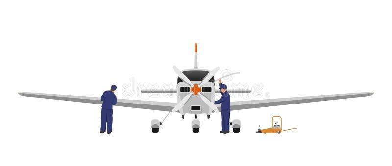Reparación y mantenimiento de aviones Los ingenieros examinan el motor y el ala del aeroplano ilustración del vector