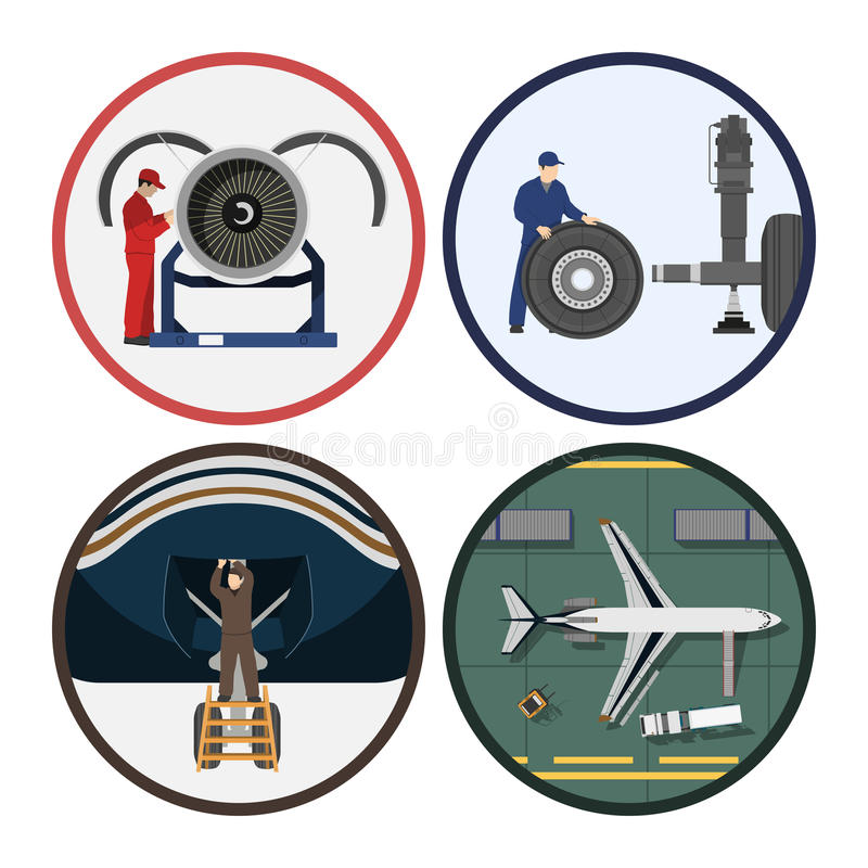 Reparación y mantenimiento de aviones Servicio del aeroplano Dibujo industrial en un estilo plano stock de ilustración