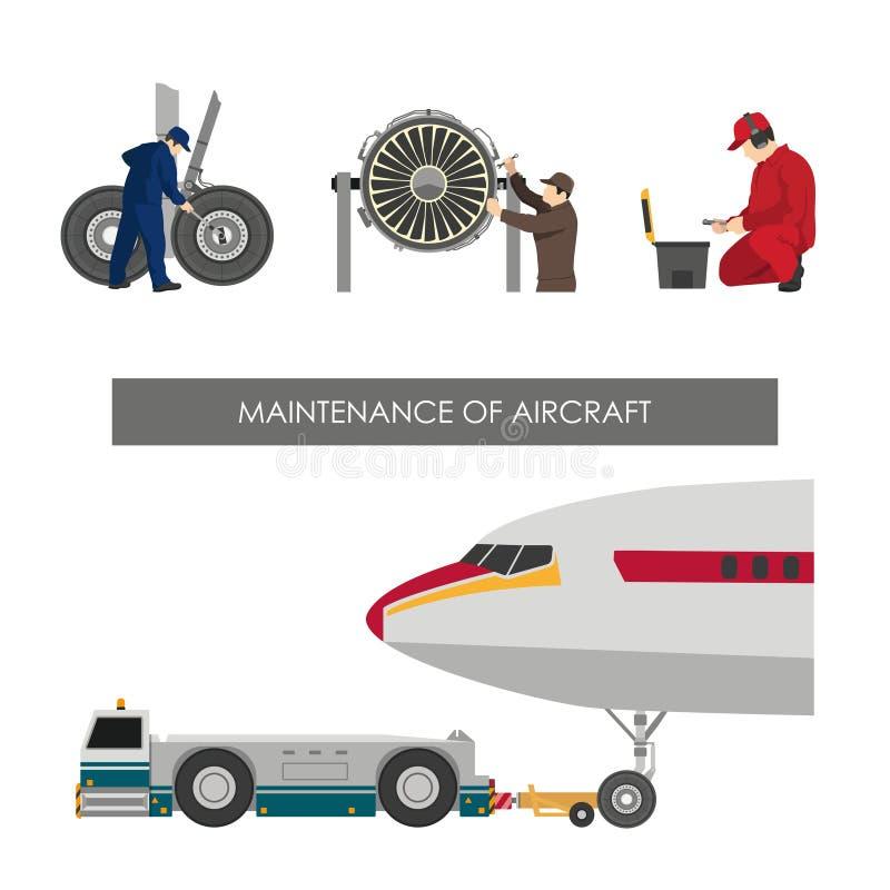 Reparación y mantenimiento de aviones Sistema de imágenes con los ingenieros libre illustration