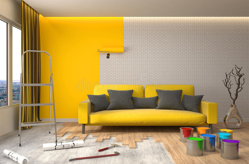 Reparación y pintura de paredes en sitio ilustración 3D ilustración del vector