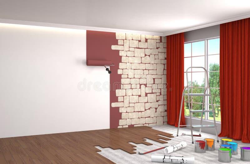 Reparación y pintura de paredes en sitio ilustración 3D stock de ilustración