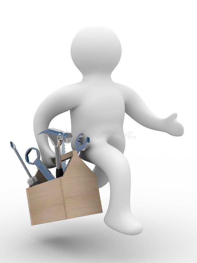 Reparador com a ferramenta no fundo branco ilustração do vetor