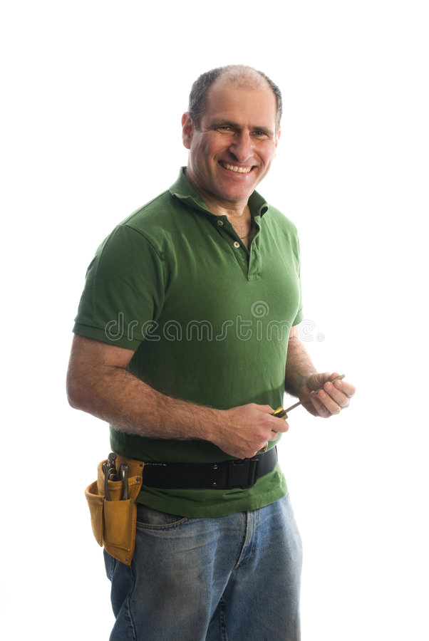 Reparador del contratista con la correa y el martillo de la herramienta foto de archivo libre de regalías