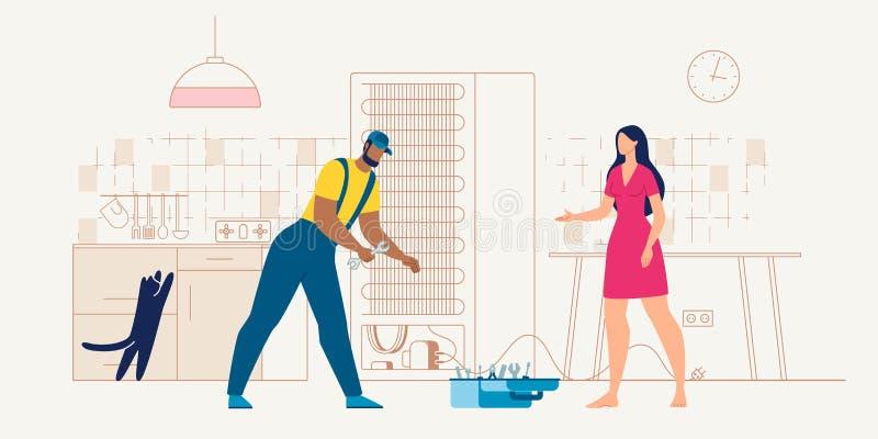 Reparador del servicio de los aparatos electrodomésticos en el vector del trabajo stock de ilustración