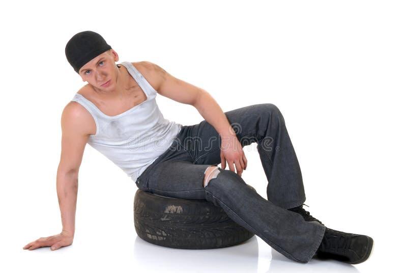 Reparador do carro com roda imagem de stock royalty free