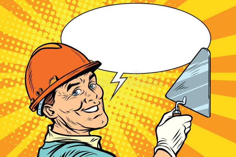 Reparador do construtor com a pá de pedreiro da ferramenta ilustração stock