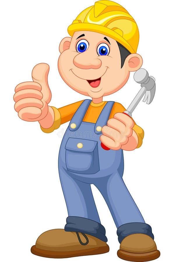Reparador do trabalhador da construção dos desenhos animados ilustração royalty free