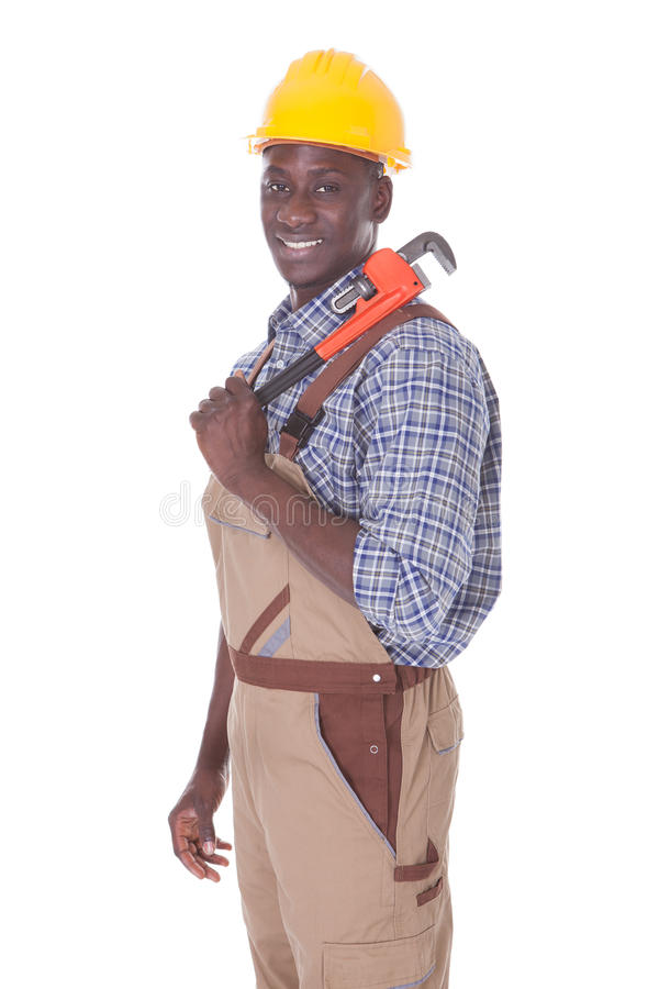 Reparador Holding Wrench fotografia de stock