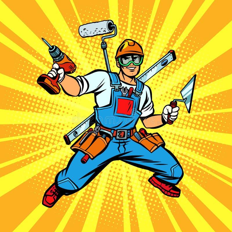 reparador Multi-armado do construtor ilustração royalty free