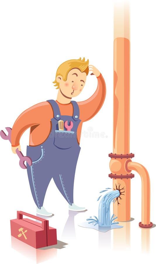 Reparador na confusão. ilustração do vetor