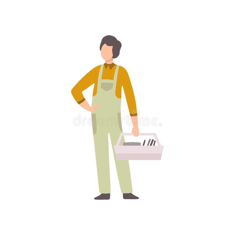 Reparador profissional com caixa de ferramentas, auto mecânico Character no funcionamento uniforme no vetor do serviço de reparaç ilustração royalty free