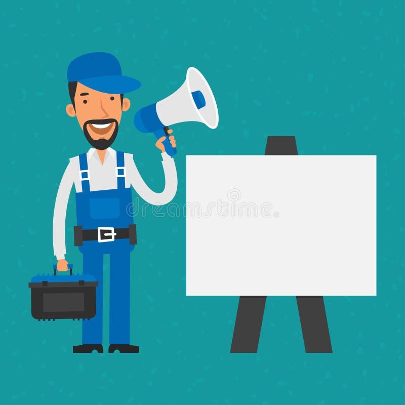 Reparador que está a aleta-carta próxima que guarda o megafone ilustração stock
