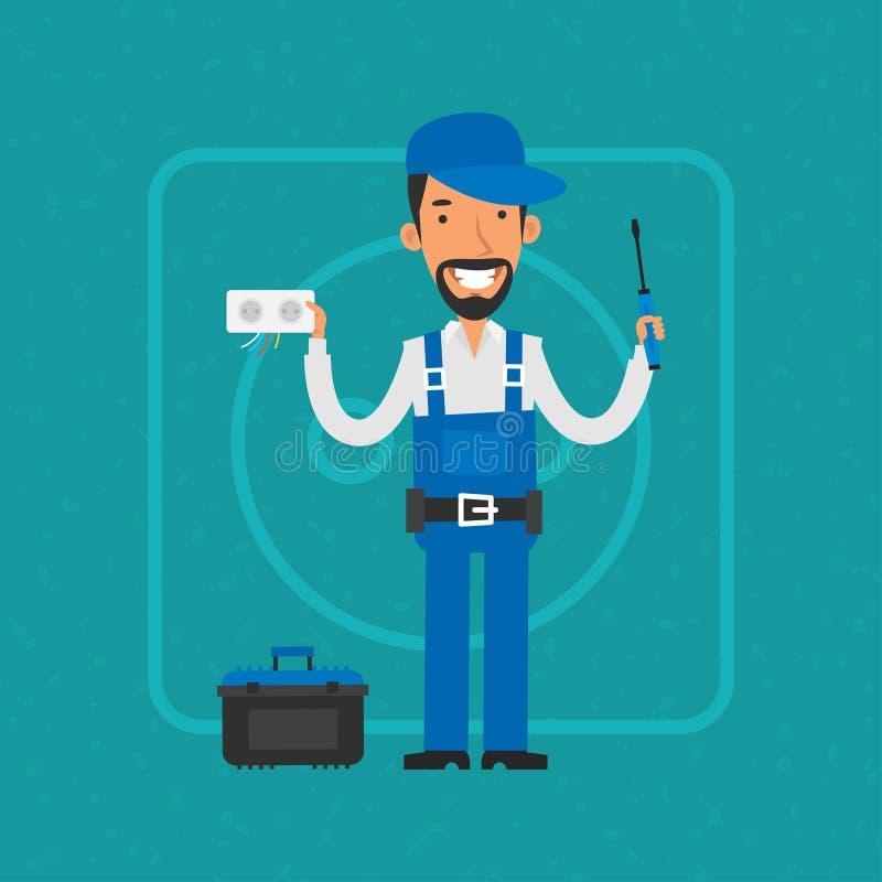 Reparador que repara o equipamento bonde ilustração stock