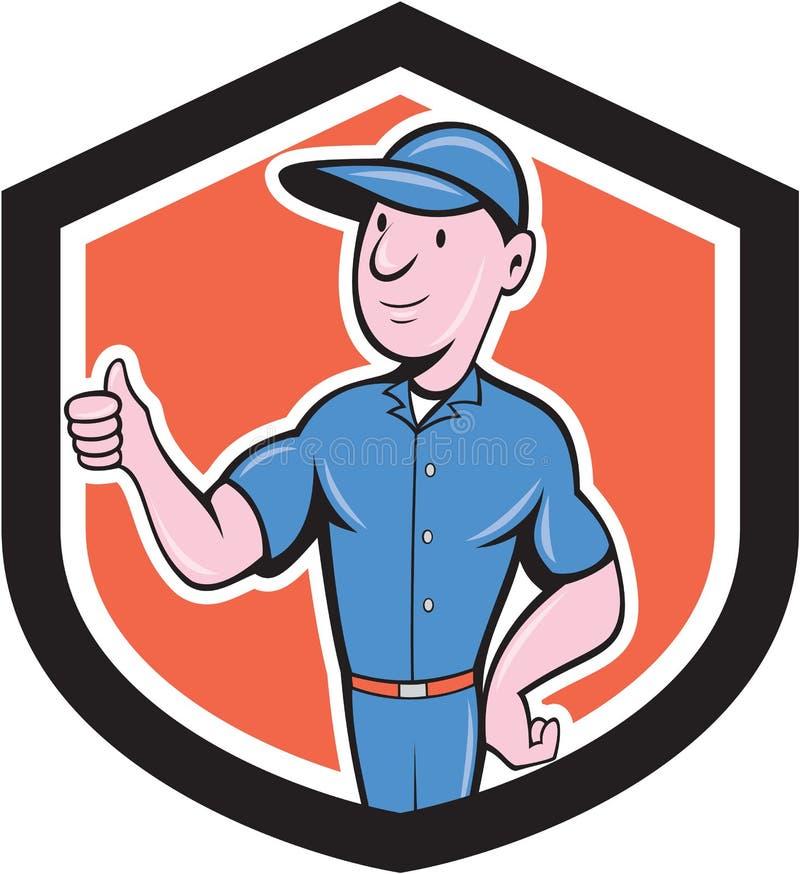 Reparador Thumbs Up Cartoon de la manitas stock de ilustración
