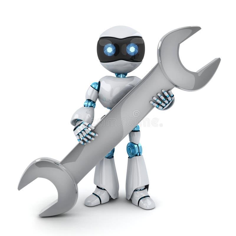 Reparador y llave blancos del robot ilustración del vector