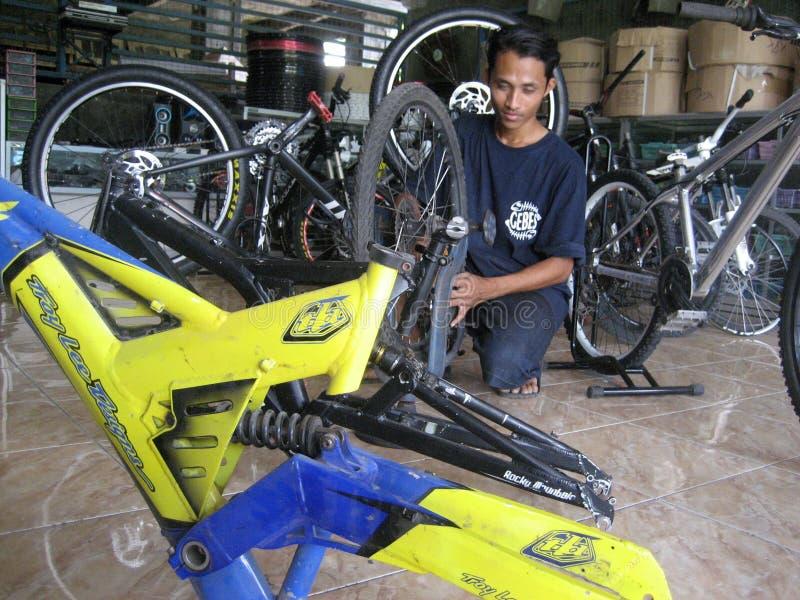 Reparando o Mountain bike fotos de stock royalty free