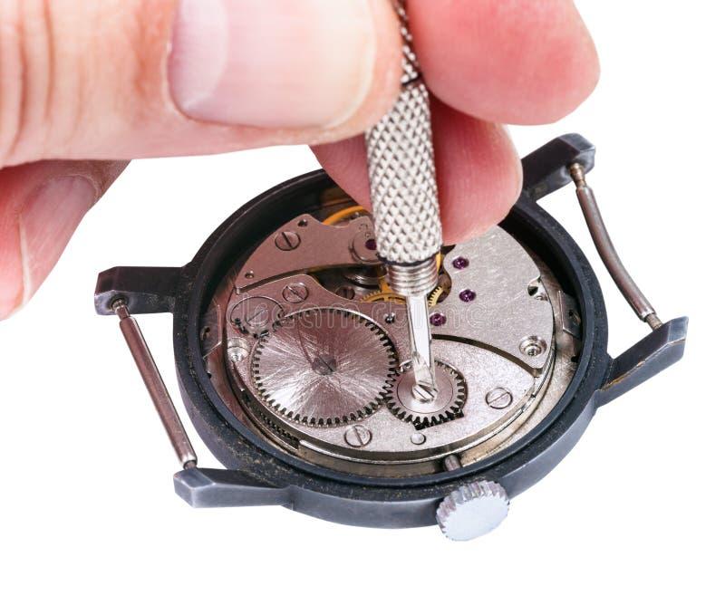 Reparatören reparerar den gamla klockan på vit arkivbilder