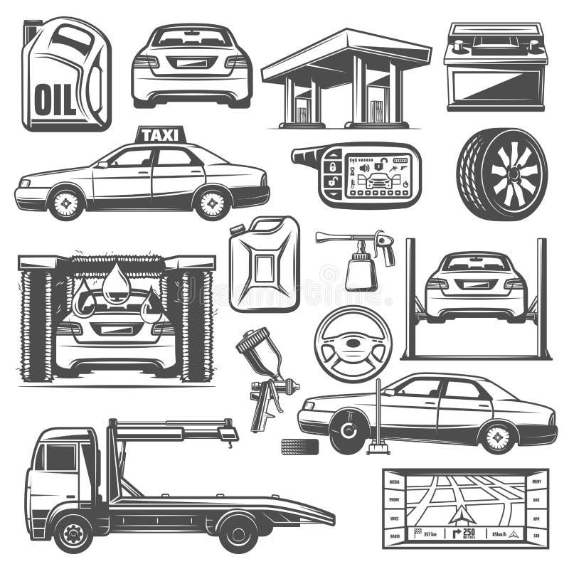 Reparatie en de dienst de pictogrammenvector van het autoonderhoud stock illustratie