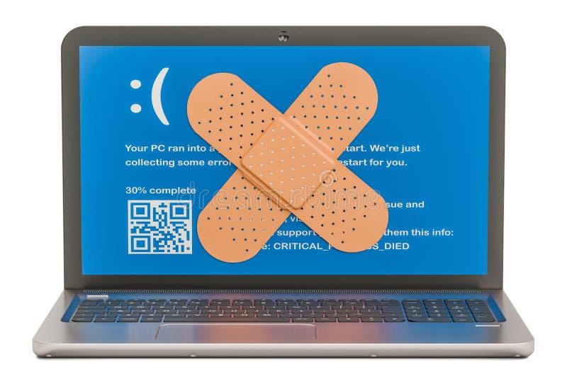 Reparatie en de dienst van notitieboekjeconcept Laptop met kleefstof royalty-vrije illustratie