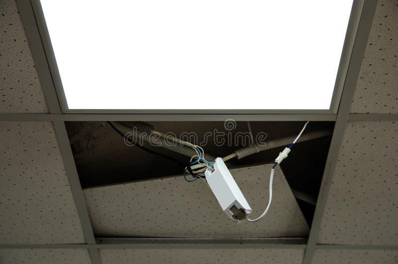 Reparatie en installatie van fluorescente lampmateriaal stock foto's