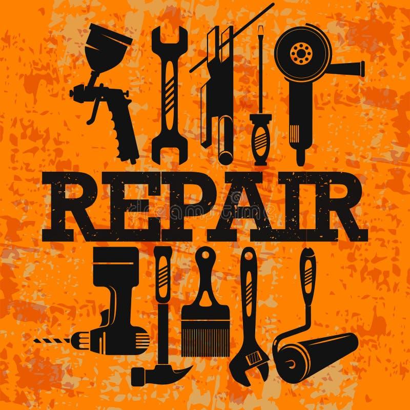 Reparatie en onderhoud met een reeks hulpmiddelen vector illustratie