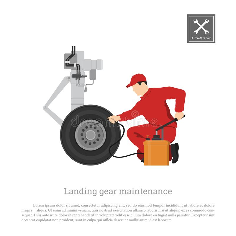 Reparatie en onderhoud van vliegtuigen Ingenieur met handpomp voor landingsgestel Industriële tekening van vliegtuigdeel royalty-vrije illustratie