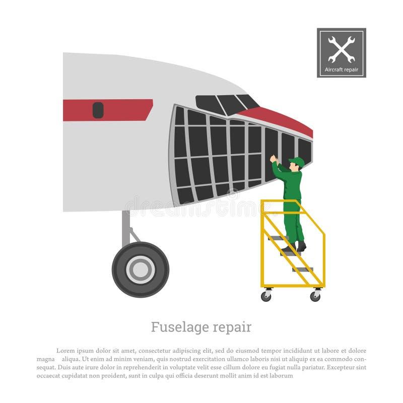 Reparatie en onderhoud van vliegtuigen Servise van vliegtuigfuselage Industriële tekening van vliegtuig in vlakke stijl royalty-vrije illustratie