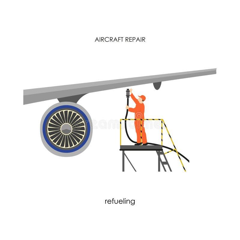 Reparatie en onderhoudsvliegtuigen Mensen bijtankend vliegtuig stock illustratie