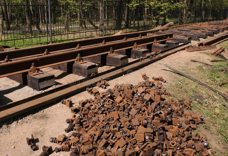 Reparatie van de spoorweg stock foto