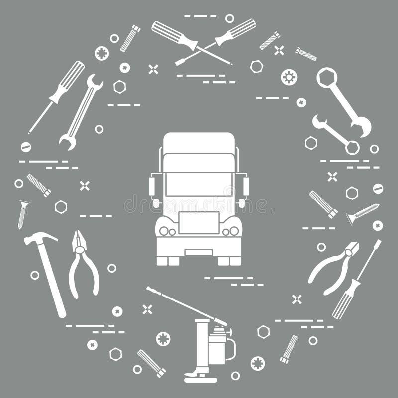 Reparatieauto's: vrachtwagen, moersleutels, schroeven, sleutel, buigtang, hefboom, hamer, schroevedraaier Ontwerp voor aankondigi vector illustratie