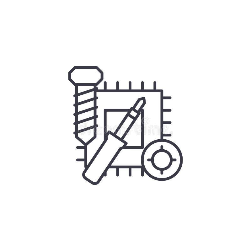 Reparation av det linjära symbolsbegreppet för elektronik Reparation av elektroniklinjen vektortecken, symbol, illustration vektor illustrationer