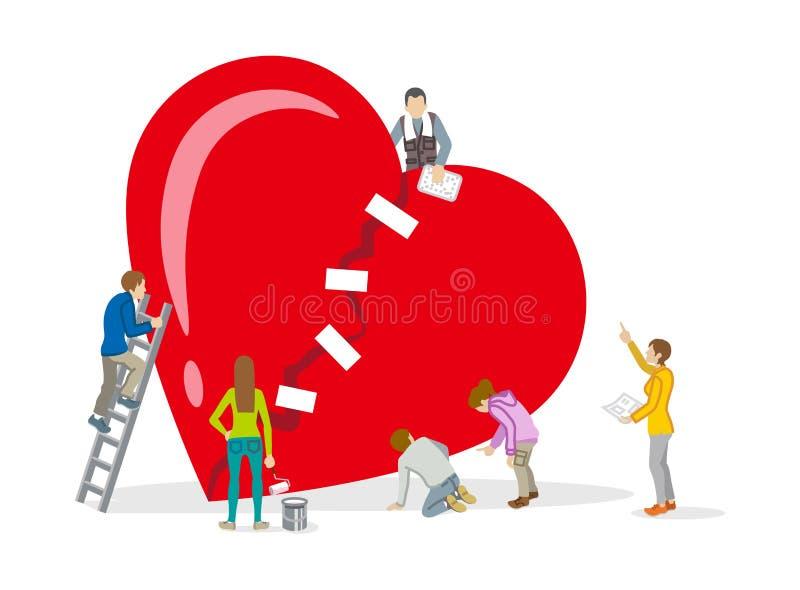 Reparation av hjärta - mental hälsabegreppskonst royaltyfri illustrationer