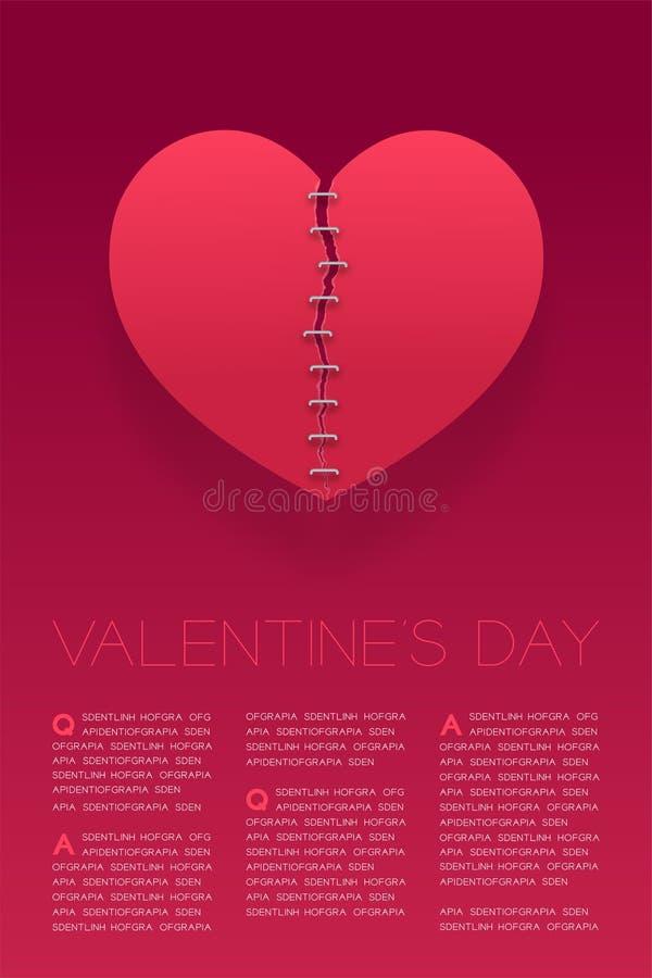 Reparation för hjärtapappersreva vid Staples, valentin illustration för design för mall för affisch för orientering för dagbegrep royaltyfri illustrationer