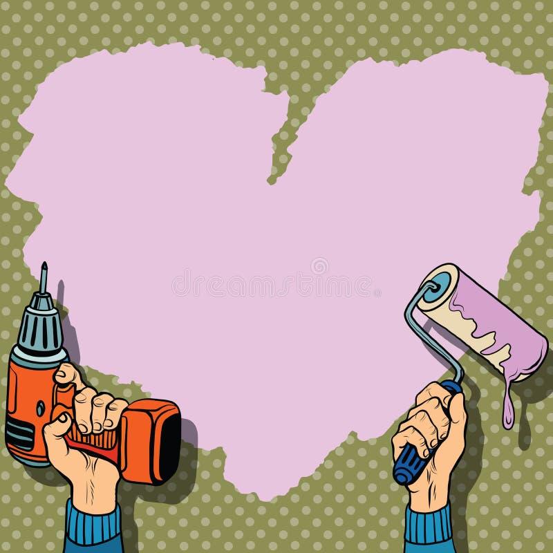 Reparation för vägg för målarfärg för förälskelsehjärtabakgrund royaltyfri illustrationer