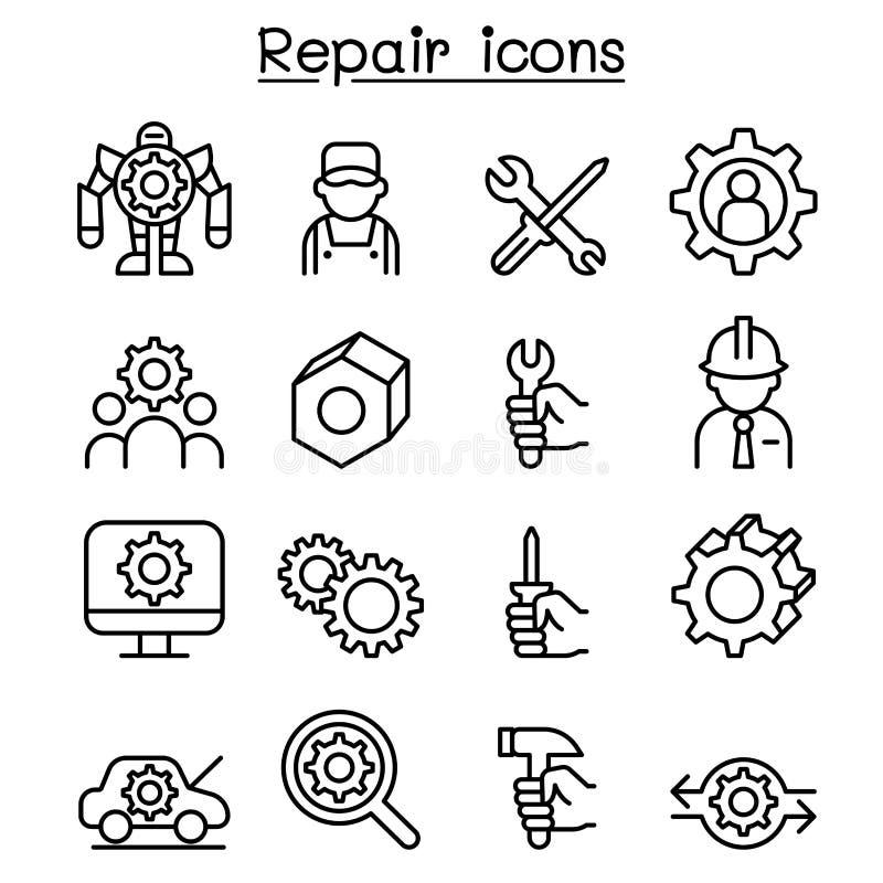 Reparation, fixande & underhållssymbolsuppsättning i den tunna linjen stil vektor illustrationer