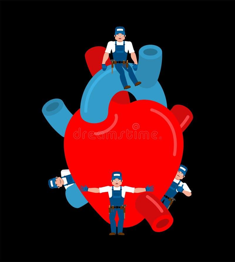 Reparation och underhåll av hjärta medicinsk service reparationslag I stock illustrationer