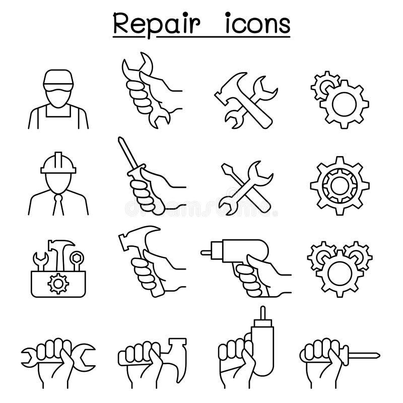 Reparation underhåll, service, servicesymbolsuppsättning i den tunna linjen styl stock illustrationer