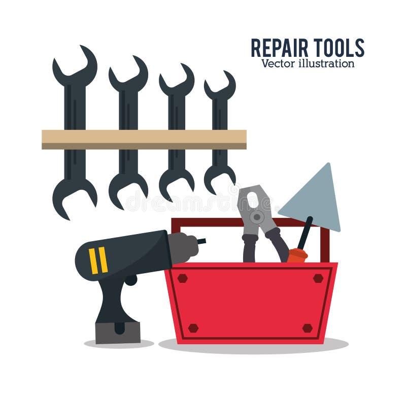 Reparationen bearbetar konstruktionsdesign vektor illustrationer
