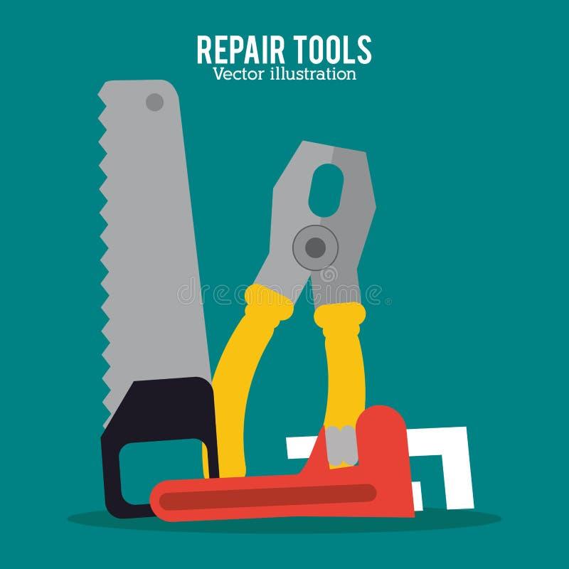 Reparationen bearbetar konstruktionsdesign stock illustrationer