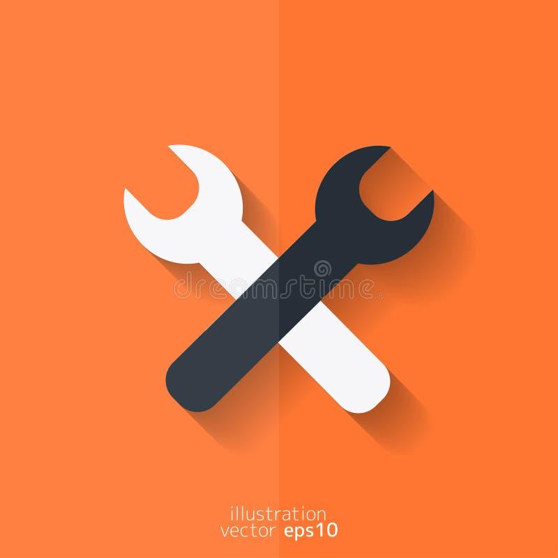 Reparationen bearbetar symbolen Teknologiskt instrument Plan design royaltyfri illustrationer